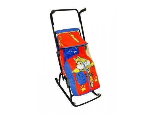 Санки-коляска RT Снегурочка 4-Р Бельчонок с 4 колесиками до 50 кг синий красный сталь