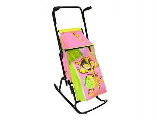 Санки-коляска RT Снегурочка 4-Р Котенок с 4 колесиками до 50 кг салатовый розовый сталь