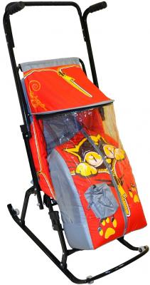 Санки-коляска RT Снегурочка 4-Р Котенок с 4 колесиками до 50 кг серый красный дюспо металл