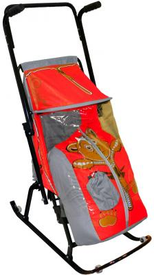 Санки-коляска RT Снегурочка 4-Р Медвежонок с 4 колесиками до 50 кг серый красный дюспо металл