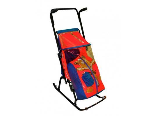 Санки-коляска RT Снегурочка 4-Р Медвежонок с 4 колесиками до 50 кг синий красный сталь