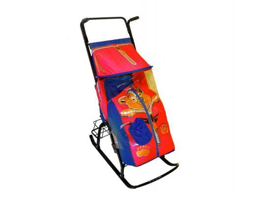 Санки-коляска RT Снегурочка 42-Р Медвежонок с 4 колесиками и корзинкой до 50 кг синий красный сталь