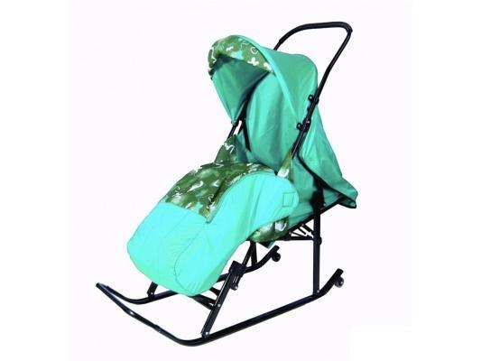 цена на Санки-коляска RT Шустрик-Имго-6 на колесиках с горизонтальным положением спинки до 45 кг бирюзовый сталь