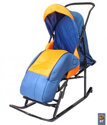 цена на Санки-коляска RT Шустрик-Имго-6 на колесиках с горизонтальным положением спинки до 45 кг синий оранжевый сталь