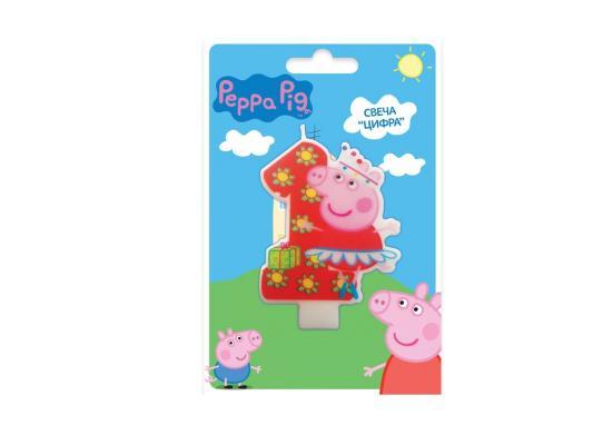 """Свеча Peppa Pig """"Цифра 1"""" 8 см 1 шт 29733, Сервировка стола и свечи  - купить со скидкой"""