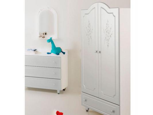 Шкаф двустворчатый Baby Expert Diamante (белый/cеребро)
