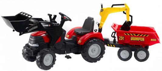 Трактор педальный Falk С ковшом и прицепом, красный 225 см.