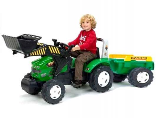 Трактор-экскаватор Falk педальный с прицепом зеленый 225 см
