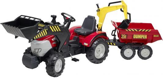 Трактор-экскаватор педальный Falk С прицепом и ковшом, красный 225 см.