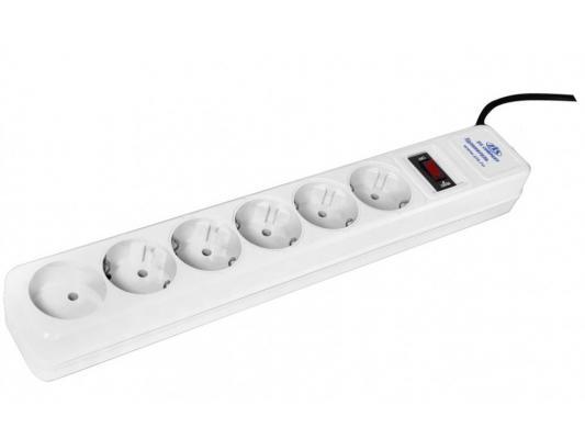 Сетевой фильтр ZIS Pilot 10A белый 6 розеток 1.8 м