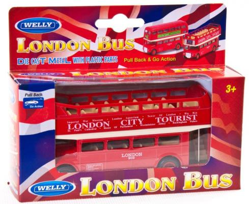 Автобус Welly London Bus 1:34-39 красный 99930C welly london bus 99930