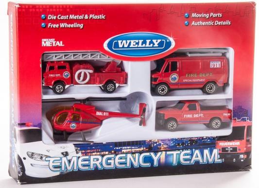Набор Welly Служба спасения - пожарная команда красный 4 шт welly welly набор машинок служба спасения скорая помощь 4 штуки
