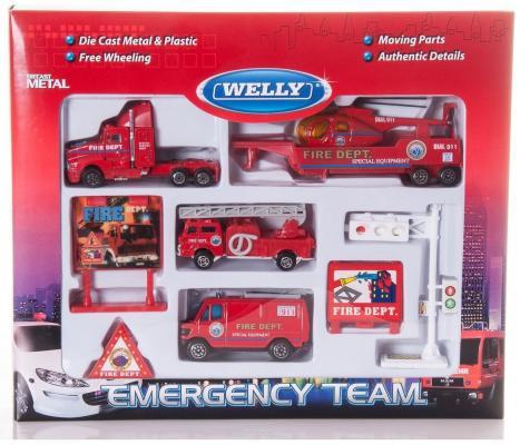 Набор WELLY Служба спасения - пожарная команда красный 9 шт 98630-9C welly welly набор машинок служба спасения скорая помощь 4 штуки