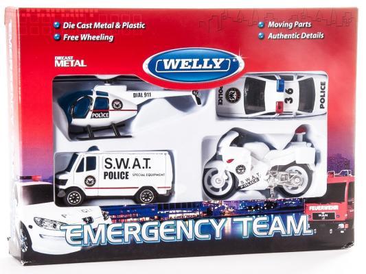 Игровой набор Welly Служба спасения - полиция белый 4 шт 98630-4G (A) welly welly набор машинок служба спасения скорая помощь 4 штуки
