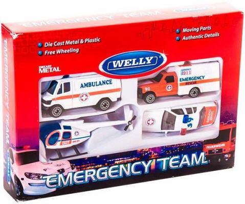 Набор WELLY Служба спасения - скорая помощь бело-красный 4 шт 98630-4B welly welly набор машинок служба спасения скорая помощь 4 штуки