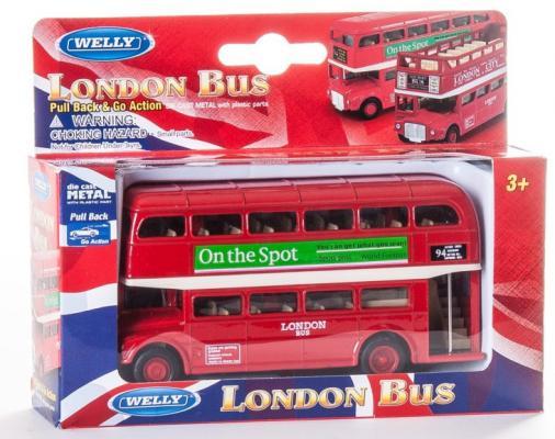 Автобус Welly London Bus 1:34-39 красный автомобиль welly уаз 31514 военная автоинспекция 1 34 39 зеленый 4891761238070