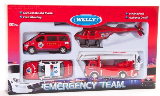 Игровой набор Welly Пожарная служба красный 4 шт 12 см 98160-4C