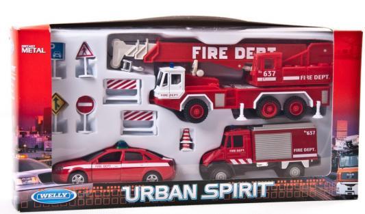 Игровой набор Welly Пожарная служба красный 3 шт 99610-10B welly welly набор машинок пожарная служба 6 штук