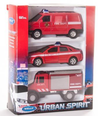 Игровой набор Welly Пожарная служба красный 3 шт 99610-3C welly welly набор машинок пожарная служба 6 штук