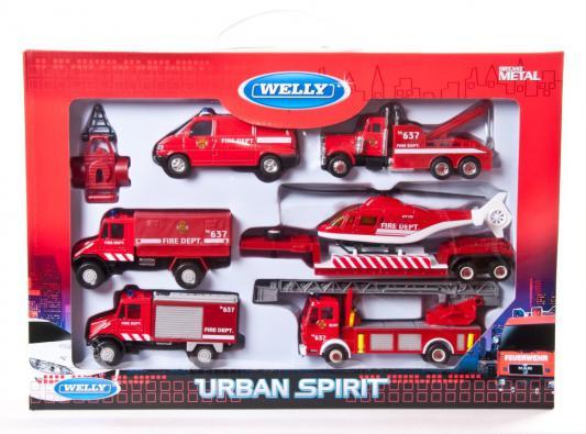 Игровой набор Welly Пожарная служба красный 6 шт 99610-6B городской транспорт welly набор машинок welly пожарная служба 11 см 3 шт