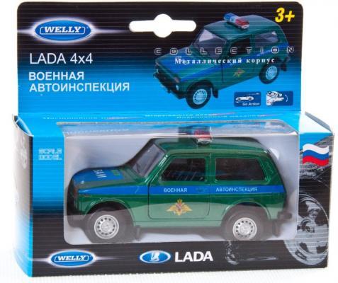 Автомобиль Welly LADA 4x4 Военная автоинспекция 1:34-39 зеленый 42386