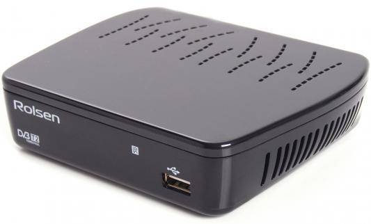 Тюнер цифровой DVB-T2 Rolsen RDB-514A черный