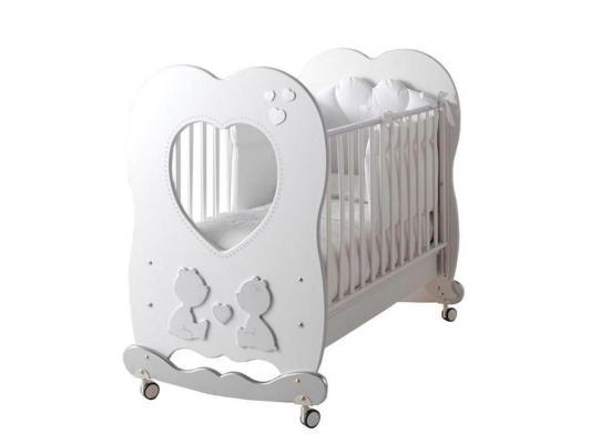 Купить Кроватка-качалка Baby Expert Cuore di Mamma (белый), бук, Кроватки-качалки