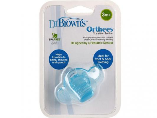 Купить Прорезыватель Dr.Brown Orthees переходный голубой с 3 месяцев 11333, Dr. Brown, пластик, для мальчика, Прорезыватели