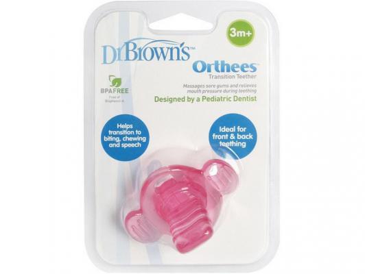 Купить Прорезыватель Dr.Brown Orthees переходный розовый с 3 месяцев 11332, Dr. Brown, пластик, для девочки, Прорезыватели