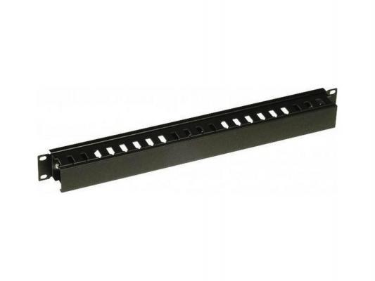 """Панель кабельная Conteg DP-VP-K02-H разводная 4x6см фронтальная 19"""" 1U черный RAL9005"""