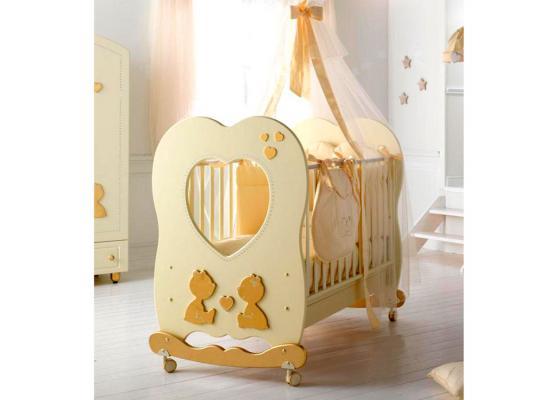 Купить Кроватка-качалка Baby Expert Cuore di Mamma (крем), кремовый, бук, Кроватки-качалки