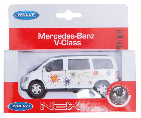 Автомобиль Welly MB V-CLASS 1:34-39 белый new weise toys 1 32 scale diecast metal mb car models engineering car series toys for children 1038 mb trac 900 mit frontlad