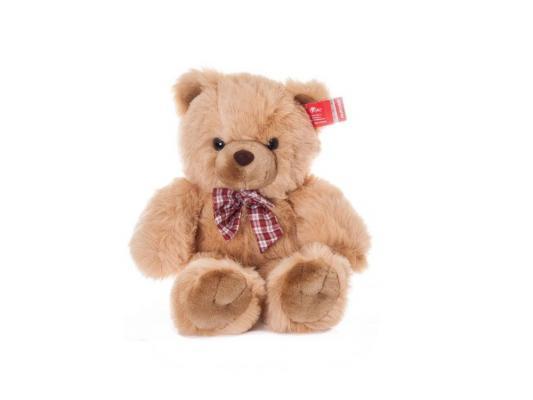 Мягкая игрушка медведь Aurora с клетчатым бантом плюш бежевый 80 см