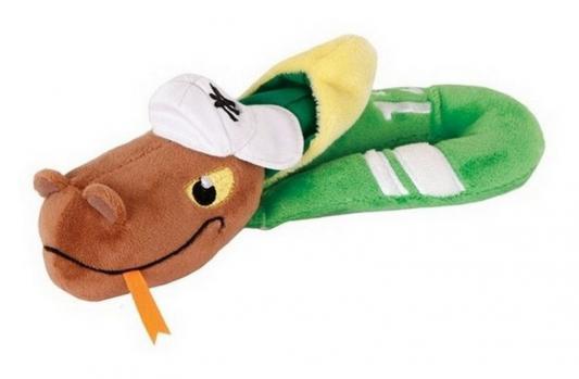 Мягкая игрушка змейка Gulliver (Гулливер) Змей Рэпер плюш синтепон зеленый коричневый желтый 23 см