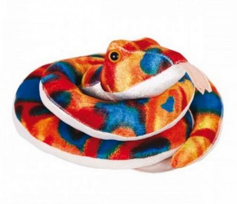 Мягкая игрушка змейка Gulliver Змейка Пеструшка плюш синтепон синий красный оранжевый белый 27 см