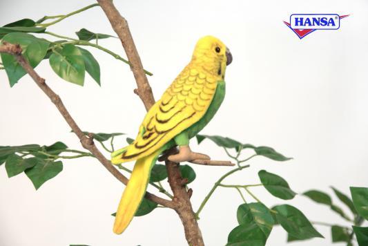 Мягкая игрушка попугай Hansa Волнистый текстиль зеленый 15 см 3653П