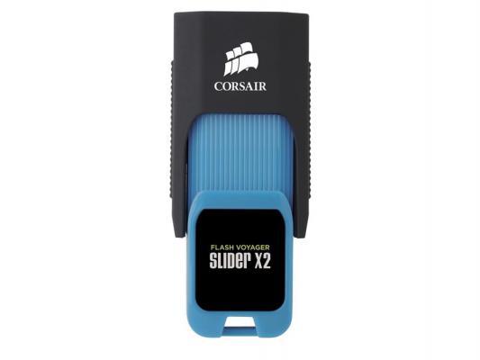 Флешка USB 32Gb Corsair Voyager Slider X2 CMFSL3X2-32GB черно-голубой usb накопитель corsair flash voyager vega 32gb cmfvv3 32gb