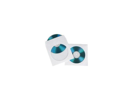 Конверты Hama для CD/DVD бумажные с прозрачным окошком белый 100шт H-62672