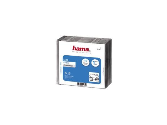 Коробка HAMA для 1 CD прозрачный/черный 10шт H-51275 конверты hama для cd dvd бумажные с прозрачным окошком белый 25шт h 51060