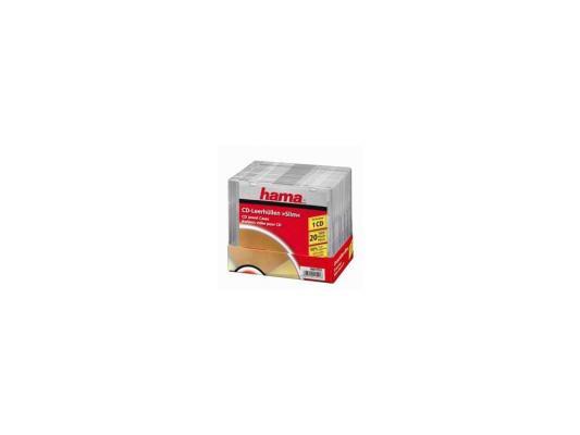 Коробка HAMA для 1 CD прозрачный 20шт H-11521 конверты hama для cd dvd бумажные с прозрачным окошком белый 25шт h 51060
