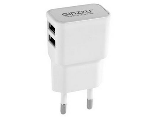 Сетевое зарядное устройство Ginzzu GA-3210UW 5В/2.1A белый