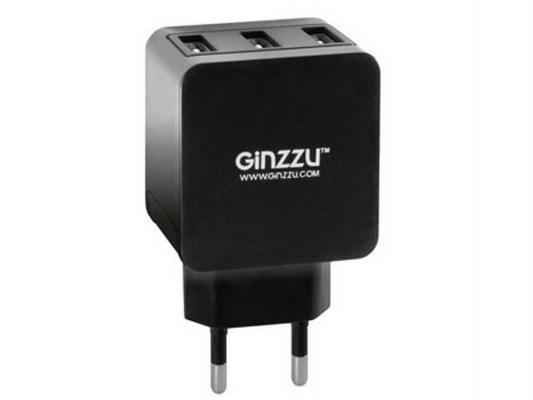 Сетевое зарядное устройство Ginzzu GA-3315UB 3 x USB 3.1А черный ginzzu ga 3412ub black сетевое зарядное устройство кабель micro usb