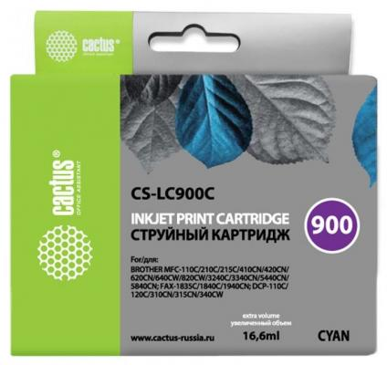 Картридж Cactus LC-900C для Brother DCP-110/115/120/MFC-210/215 голубой 400стр
