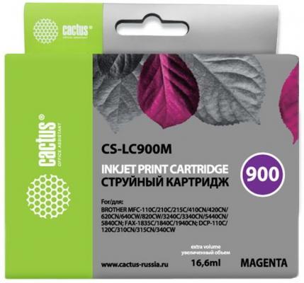 Картридж Cactus LC-900M для Brother DCP-110/115/120/MFC-210/215 пурпурный 400стр