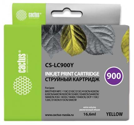 Картридж Cactus LC-900Y для Brother DCP-110/115/120/MFC-210/215 желтый 400стр cactus cs lc900с cyan картридж струйный для brother dcp 110 115 120 mfc 210 215 fax 1840