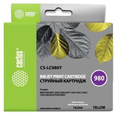 Картридж Cactus LC-980Y для Brother DCP-145C/165C MFC-250C/290C желтый 260стр картридж brother lc980m magenta для dcp 145c 165 195c 375cw mfc 250c 290c