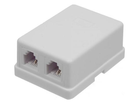 Розетка Lanmaster TWT-SS2-1212-WH телефонная настенная  порта 6P4C винтовая