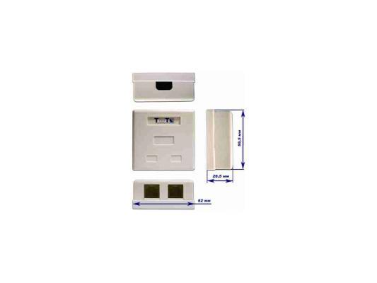 лучшая цена Розетка Lanmaster TWT-SM2-4512-WH настенная 1 порт RJ-45 категории 5е и 1 порт RJ-12 UTP белый