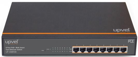 Коммутатор Upvel UP-308FEW управляемый 8 портов 8xPoE+ 10/100Mbps металлический корпус RM