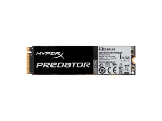 Твердотельный накопитель SSD M.2 240 Gb Kingston Predator PCIe SSD Read 1290Mb/s Write 600Mb/s PCI-E SHPM2280P2/240G ssd накопитель a data xpg sx7000 asx7000np 256gt c 256гб m 2 2280 pci e x4